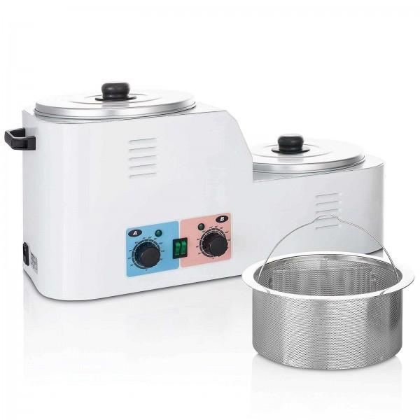 Due Vasche Großer Metall Wachserwärmer für 2x 4 Liter, Xanitalia Scaldacera Studiogerät