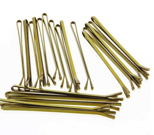 Haarklemmen, glatt mit runden Ecken Haarklammern (ohne Wellen) 7cm-Goldfarben