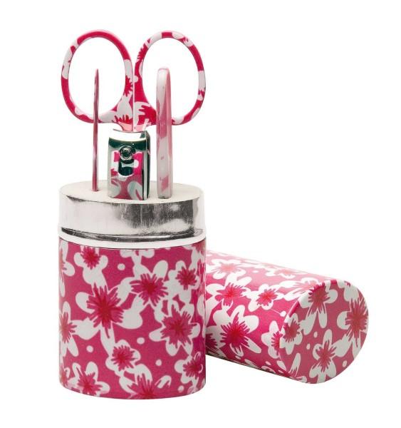 Maniküre-Set, 5 tlg., im Pink Metalletui in trendiger floraler Optik. Maniküreset