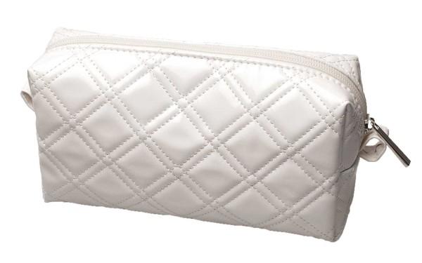 Kosmetiktasche, weiß Glänzend, 19 x 15 cm Schminktasche Kosmetex, Kulturbeutel