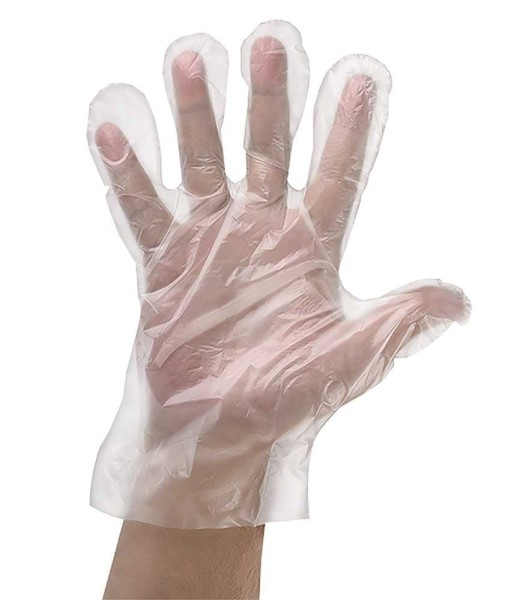 PE-Einmalhandschuhe, transparent, unsteril, gehämmert, 100 Stück