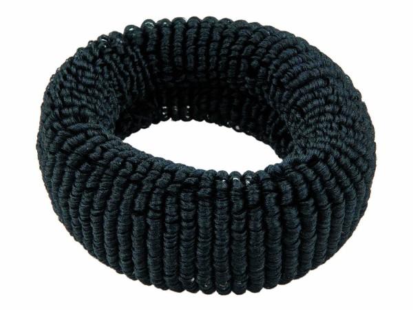 Haargummi Set, 4 Stck., breit, aus Frottee, Schwarz ohne Metall