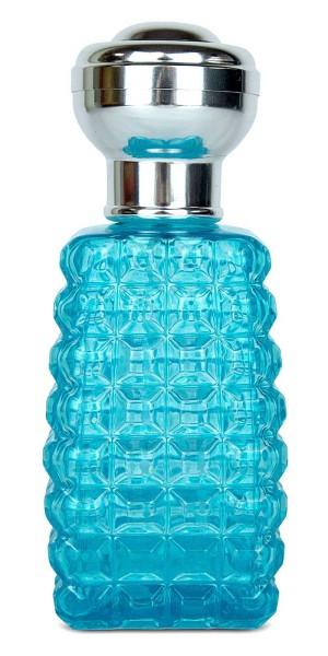 Glas-Flacon eckig, Zerstäuber für Parfüm, Kosmetex Pumpzerstäuber türkis 100 ml