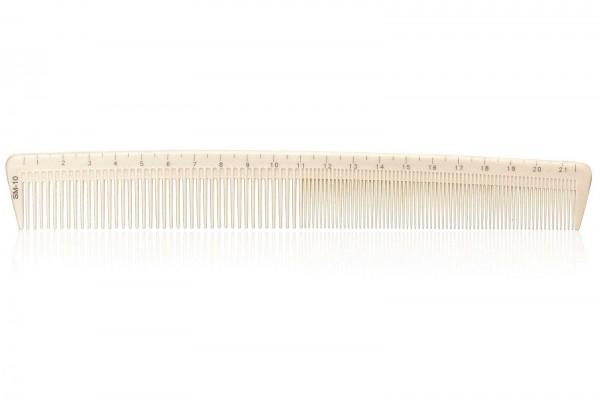 Haarschneidekamm, Frisieurkamm mit integriertem Lineal, 22cm, beige