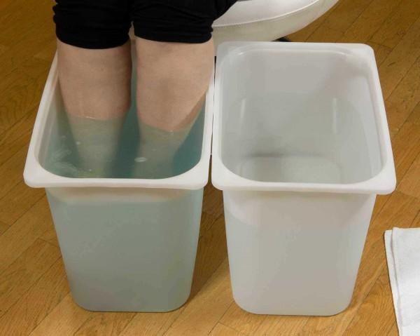 2x Fußbad-Schüssel Höhe 33cm für Waden Wechselbäder, Kosmetex Fuß-Schüssel, Fuss-Waschbecken, Fußwan