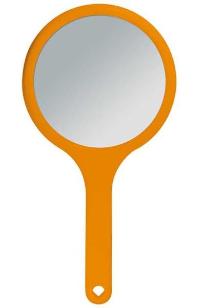 Handspiegel mit 2-fach Vergrößerung, 2 Spiegel-Flächen RS 1:1, Kosmetik-Spiegel in Orange