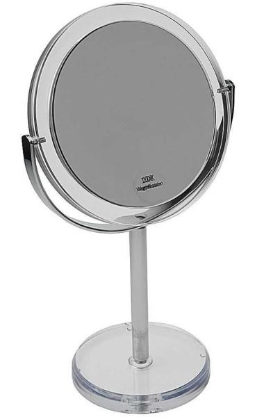 Standspiegel, Acrylglas mit Metallständer, Tisch-Spiegel, Drehbar, Schwenkbar mit 10-fach Vergrößeru