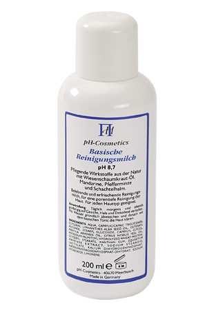 Basische Reinigungsmilch pH 8,7, basische Milch zur Reinigung, Make-up-Entfernung, ph-Cosmetics, 200