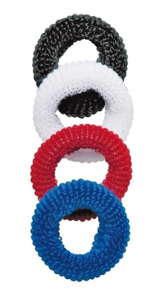 Haargummi Set, 4 Stck., klein, breit, aus Frottee, 4 div. Farben, ohne Metall