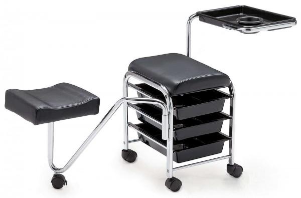Servicewagen mit Fußstütze, rollbar mit Sitz, Ablage, drei Schubladen, Schwarz