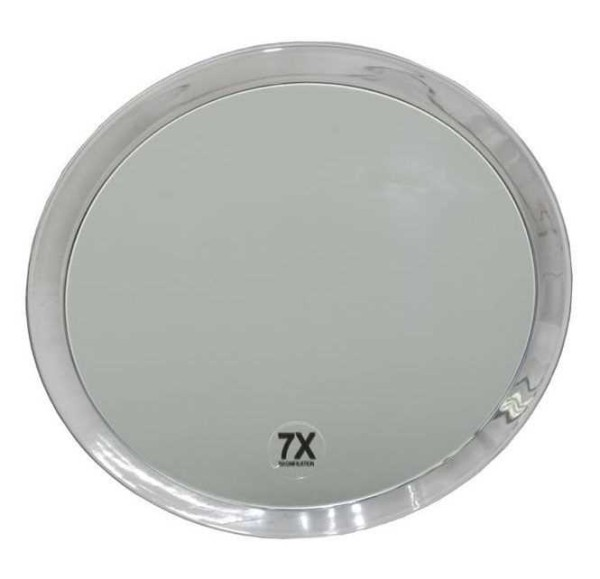 Runder 7-fach Kosmetik-Spiegel Ø 23cm, mit Vergrößerung und Saugnäpfen.