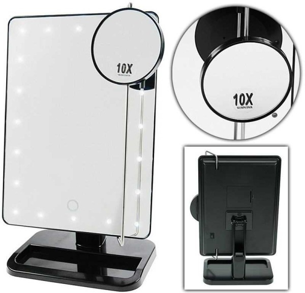 Stellspiegel mit LED Beleuchtung,Tisch-Spiegel drehbar Kosmetik Schminkspiegel - Zusatzspiegel mit 1