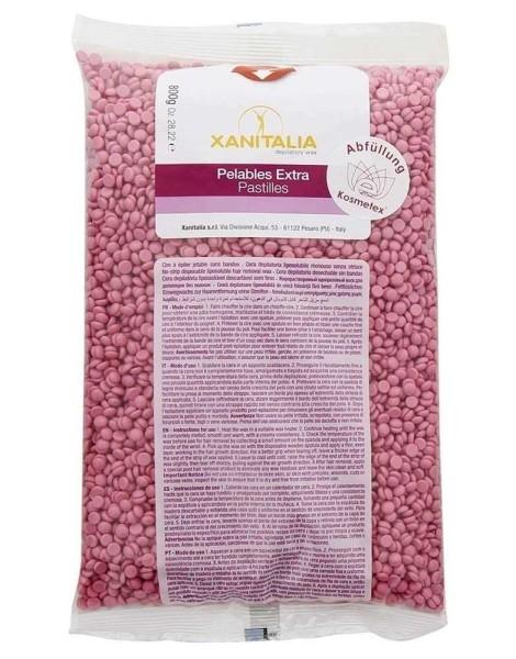Xanitalia Premium Creme Rosa Pelables EXTRA Wachs-Perlen Rose für Super flexibles Waxing ohne Vliess