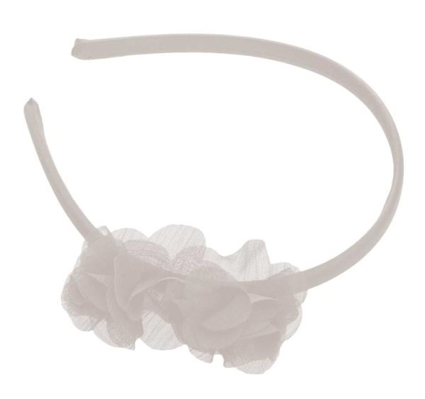 Haarreif mit zwei Stoff Blumen, weiß