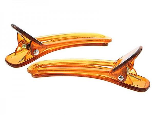 1 Paar Haarclipse, Haarklammern Bananenspangen Concordespieße breite gezahnte Ausführung in Braun