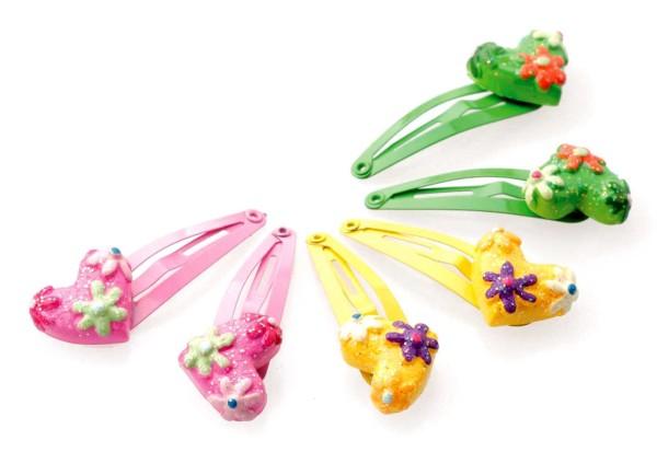 6er-Pack bunte Kinder Haarspangen mit mit Herzmotiven, Haarschmuck