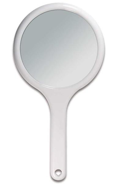 Handspiegel mit 2-fach Vergrößerung, 2 Spiegel-Flächen RS 1:1, Kosmetik-Spiegel in Weiß
