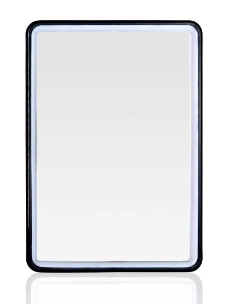 Eckiger kleiner Stellspiegel, Kosmetex Spiegel zum Stellen oder Hängen, Farbe Schwarz