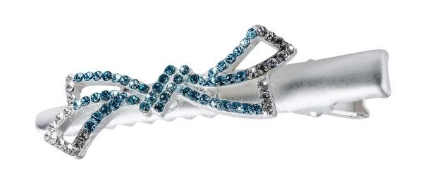 Kleine Schnabelspange/ Haarklemme mit Steinbesatz in Blau-Tönen, Schleife Design