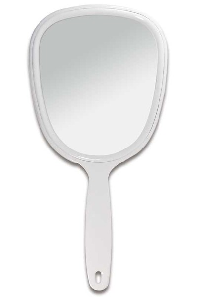 Handspiegel mit ovaler Form Kosmetik-Spiegel, normal 1-fach in Weiß