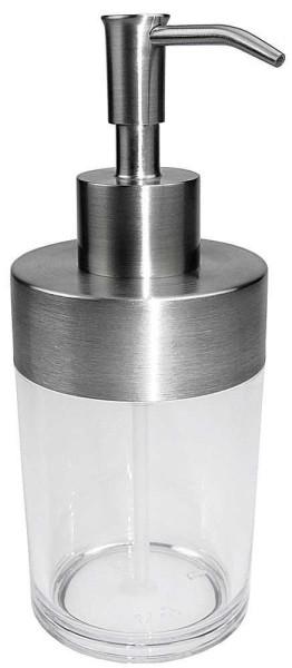 Seifenspender, Acryl mit Edelstahl. Pflegeleichter Flüssigseifenspender, ca. 300 ml