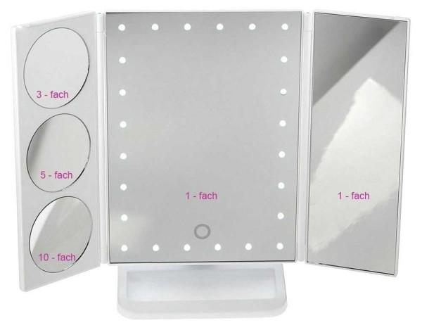 Stellspiegel mit LED Beleuchtung,Kosmet-Spiegel Schminkspiegel - 3 Zusatzspiegel 3x, 5x, 10x Vergröß