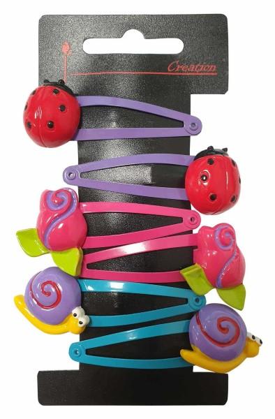 6er-Pack bunte Kinder Haarspangen mit Marienkäfer, Haarschmuck
