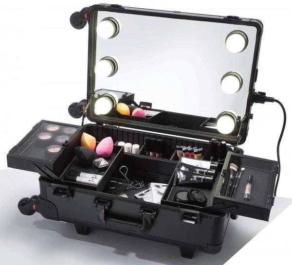 Mobiler Make-Up Tisch im Trolley, Spiegel mit 6 LED Leuchten