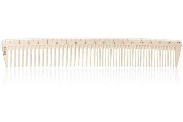 Haarschneidekamm, Frisieurkamm mit integriertem Lineal, 19,5 cm, beige