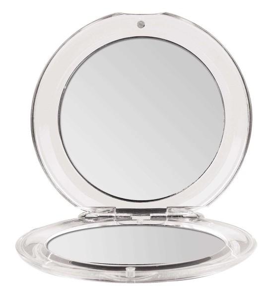 Klappbarer Runder Doppel Taschen-Spiegel Kosmetex Ø 8.5 cm mit 3-fach Vergrößerung, Acryl, Kunststof