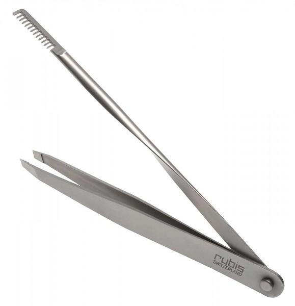 Rubis Pinzette mit Augenbrauen-Kamm, Comb Tweezers