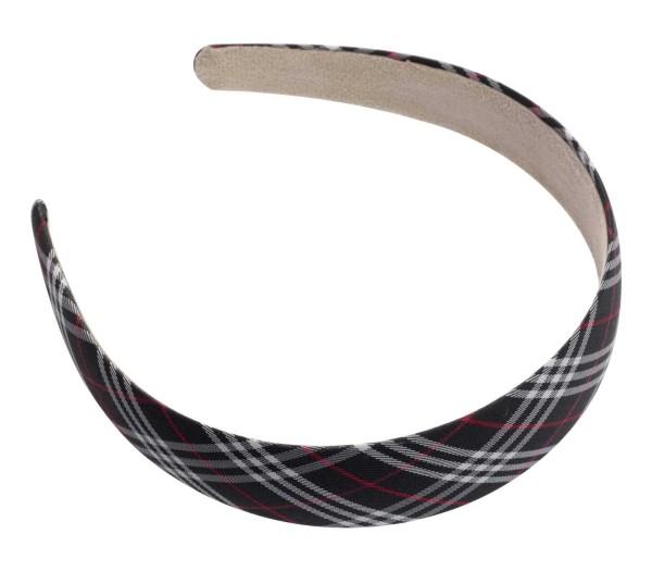 Haarreif mit Karo Muster, schwarz