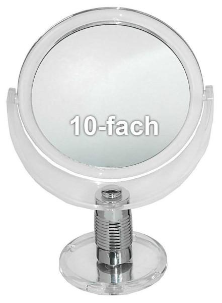 Standspiegel mit 10-fach Vergrößerung, Acrylglas, 2 Spiegelflächen, Kosmetik-Spiegel