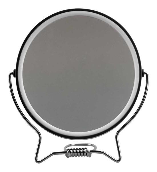 Rasierspiegel, Spiegel, 2-fach, zum Stellen oder Aufhängen, Kosmetik-Spiegel mit 2 Seiten in Schwarz