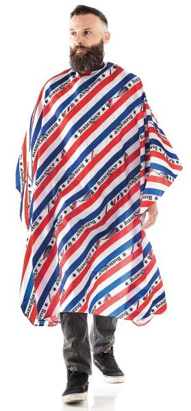 Männer-Haarschneideumhang -Wasserabweisende Polyester -Verstellbarer Verschluss mit 6 Knöpfen-Weiß/B