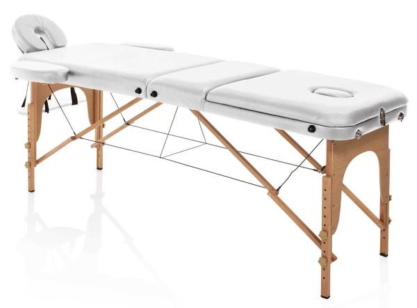 Tragbare Kosmetikliege, klappbare Holz Confort weiß, Tragkr. max. 226kg, transportabel mit Tragetasc