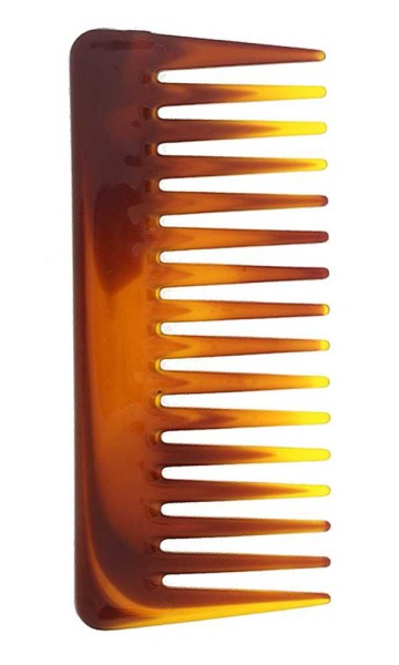 Afro Kamm, 14cm, grobe Zinken für voluminöses Haar. Locken- Nasshaarkamm-Farbe Braun Havanna bedruck