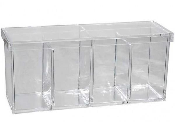 Wattepadspender, Acryl Behälter. Wattepads Wattestäbchen, mit Deckel, 4 Fächer