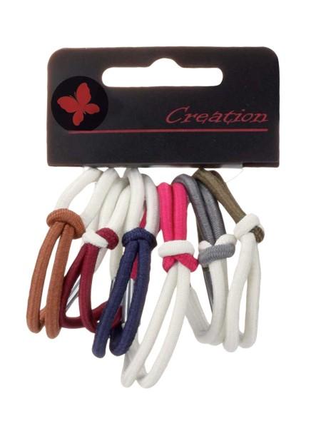 6er-Pack zweifarbige Haargummis mit Knoten, Farb-Mix