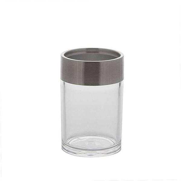Zahnputzbecher-Utensilien-Becher- Mundbecher aus Acryl mit Edelstahl. Pflegeleicht, Ø 7cm
