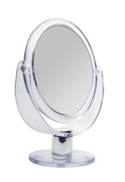 Doppelseitiger Acryl Kosmetex Kosmetik-Spiegel, rund, Stand-Spiegel mit 2-fach Vergrößerung, 17cm ho