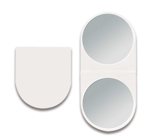 Klappbarer Doppel Taschen-Spiegel Kosmetex Reise Handspiegel mit 2-fach Vergrößerung in Weiß