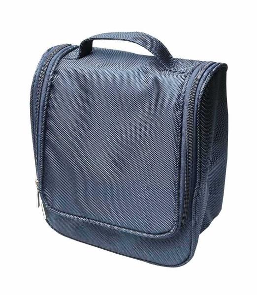 Reise-Kulturtasche, Dunkel Blau, 20 x 22 cm Männer Kosmetiktasche Kosmetex für Sport und Reisen.