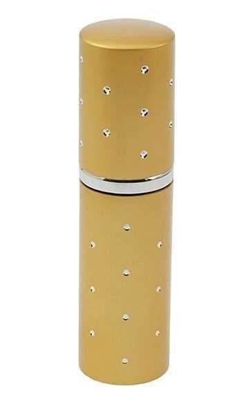 Zerstäuber, Gold mit Glitzersteinchen Parfümzerstäuber, Taschenzerstäuber, Flakon für Unterwegs, 10m
