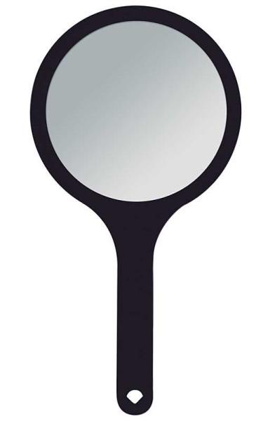 Handspiegel mit 2-fach Vergrößerung, 2 Spiegel-Flächen RS 1:1, Kosmetik-Spiegel in Schwarz