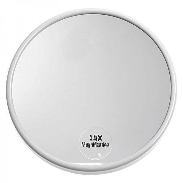 Saugnapf Spiegel mit 15-fach Vergrößerung, weiß, rund Ø 13 cm, Kosmetikspiegel