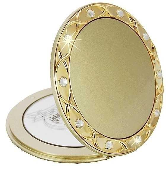 Taschen-Spiegel Gold mit 10-fach Vergrößerung, Kosmetex, Ø8cm Taschen Kosmetik-Spiegel