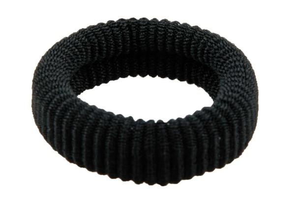 Haargummi Set, 6 Stck., breit, aus Frottee, Schwarz ohne Metall