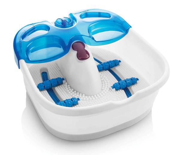 Fußbadewanne mit Hydromassage, Warmwasser, Luftbläschen und Massage-Noppen,