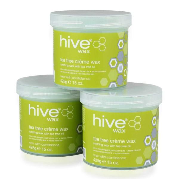 Hive 3 für 2 Pack, Tea Tree Creme Warmwachs, 3 x 425g